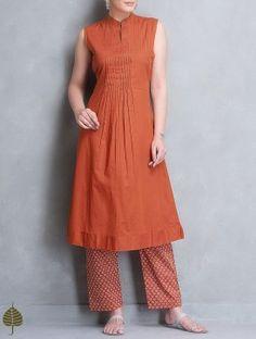 Rust Pleated Sleeveless Cotton Kurta by Jaypore