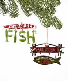 Take a look at this Fishing Sign Ornament Set by The JWM Collection on #zulily today!