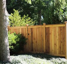 Solid style custom 6' high cedar wood fence with trim detail