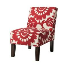 Armless Upholstered Accent Slipper Chair - Red Floral Quick Information