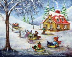 Christine Genest, Viens t'amuser avec nous 16 X 20 Vintage Christmas Images, Country Art, Winter Art, Naive Art, Sports Art, Canadian Artists, Types Of Art, Painting Inspiration, Illustration Art