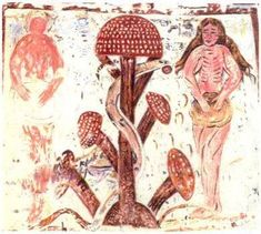 A fresco in Plaincouralt abbey in France (13th century) depicting Adam and Eve next to an Amanita muscaria mushroom tree of knowledge, apparently mushing it into a communion bread