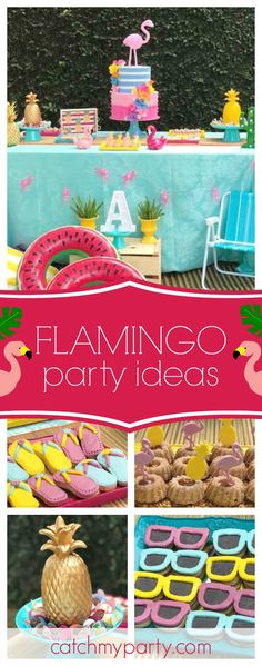 Don't miss this fun Flamingos, Pineapples and Cactus pool birthday party! The flamingo cake is so cool! See more party ideas and share yours at CatchMyParty.com
