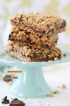 German Chocolate Oatmeal Bars recipe.  These gooey, buttery German Chocolate Oatmeal Bars are full of caramel, coconut, pecans, and German chocolate chunks.