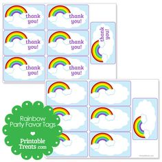 Printable Rainbow Party Favor Tags from PrintableTreats.com