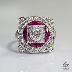 Antique Art Deco Platinum 1.91ctw. Diamond & Ruby Ring