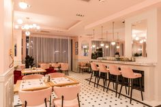 pink restaurant interior design picktwo studio : pink high chairs in a restaurant