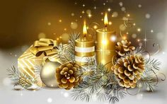 Christmas candles wallpaper by - 32 - Free on ZEDGE™ Christmas Candles, Gold Christmas, Beautiful Christmas, Christmas Time, Christmas Decorations, Christmas Ornaments, Christmas Gifts, Christmas Cover, Gold Ornaments