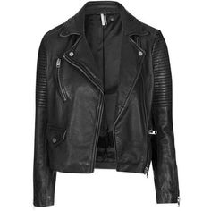 Washed Leather Biker - Jackets & Coats - Clothing - Topshop ❤ liked on Polyvore featuring outerwear, jackets, genuine leather biker jacket, moto jackets, real leather jackets, 100 leather jacket and motorcycle jacket