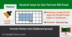 Several ways to use Format Painter Microsoft Excel 2016 - http://indiaexcel.com/various-ways-use-format-painter-excel/