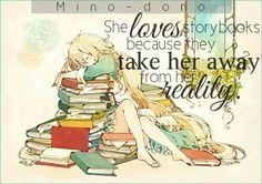 Traduction FR : Elle adorait les livres, parce que ça l'éloignait de la réalité.    Marry Kozakura    Kagerou Project