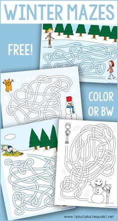 This set of free Winter Mazes provides a great way to add in some learning activities for your kids during the winter season. These printable mazes are available in color or BW and are great for preschool, Kindergarten and elementary students. Snow Activities, Winter Activities For Kids, Science Activities For Kids, Winter Crafts For Kids, Winter Kids, Christmas Activities, Learning Activities, Free Preschool, Preschool Crafts