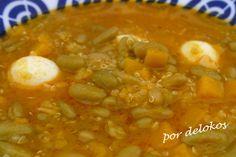 Fabas verdinas con quinua, calabaza y huevos, por delokos