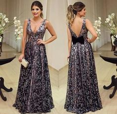1accb66a4ca 2015 Women Elegant Formal Dresses Party Print Sleeveless Floor-Length Dress  Vestido De Festa Summer Style Sexy V-Neck Bow Dress