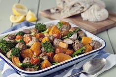 An easy one pan feast that's really economical but also smart enough for laid back Sunday lunches.