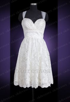 Charming Lace Knee Length Wedding DressOff The by Okdresses Beach Bridal Dresses, Wedding Dresses 2014, Cute Wedding Dress, Wedding Gowns, Ring Dance Dresses, Rehearsal Dress, Wedding Dress Accessories, Just In Case, Wedding Styles