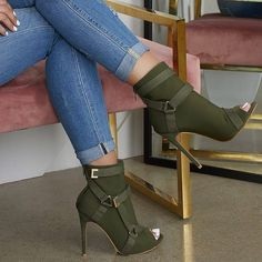 Shoespie Back Zip Peep Toe Stiletto Heel Ankle Boots High Heel Boots, Heeled Boots, Bootie Boots, Shoe Boots, Ankle Boots, High Heels, Dream Shoes, Crazy Shoes, Me Too Shoes