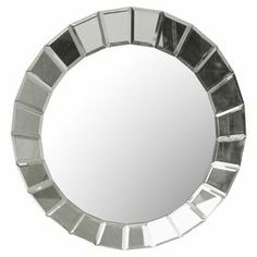 """Beveled wall mirror designed by Carolyn Kinder.     Product: Mirror    Construction Material: Mirrored glass    Color: Silver     Features:   Designed by Carolyn Kinder   Rectangular beveled mirrors create a 'web' effect   All edges have been polished for a smooth finish          Dimensions: 34"""" Diameter"""