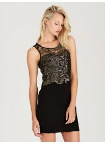 Only | Slinky Dress with Gold Lace Bodice Black