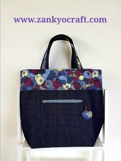 Blueberry Tote Bag featuringCopper Catkin fabric available from www.zankyocraft.com