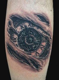 antique_clock_skin_rips_tattoo.jpg (402×550)