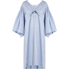 TEIJA V-neck striped cotton dress (285 CHF) ❤ liked on Polyvore featuring dresses, light blue, v neckline dress, v neck dress, smocked dresses, blue smock dress and cotton dress