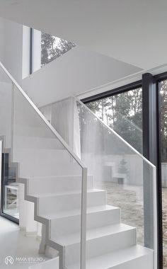 BNW - makastudio Stairs Balusters, Stair Railing, Railings, Glass Balustrade, Staircase Ideas, Stairways, Badass, Minimalism, My Design