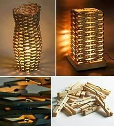 Clothespin's Lamp. Lampen aus Wäscheklammern Clothespin's Lamp . Lamps made of clothespins clothing ideas diy Craft Stick Crafts, Diy And Crafts, Arts And Crafts, Craft Ideas, Diy Ideas, Decor Ideas, Diy Luz, Luminaria Diy, Wooden Clothespins