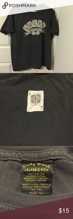 "Lucky Brand T-shirt Classic Fit XL size Very nice quality used Lucky Brand Classic Fit with front logo ""LUCKY Lucky You"" front center. Grey XL 100% Cotton Short Sleeve T-shirt. Back side has the Ace 13 Players Card Print on Top Center Lucky Brand Shirts Tees - Short Sleeve"