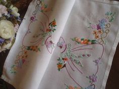 "Gorgeous Vintage Embroidered Crinoline Hollyhocks  Lady Tray Cloth 18""x13"""