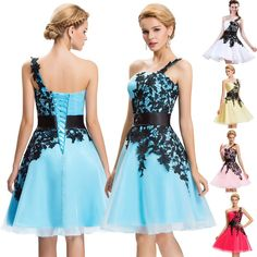 Teens Prom Short Bridesmaid Wedding Formal Dresses Grad Homecoming Prom Dress GK #GraceKarin #OneShoulder #Formal