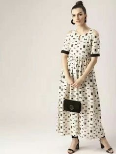 b2d1c395c10 Buy Libas Women Off White   Black Printed Cold Shoulder Maxi Dress - Dresses  for Women from Libas at Rs. Style ID  6824745