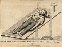 Sketch of John Williams' corpse on the death cart, along with the murder implements of pen maul, ripping chisel and iron crowbar. This representation of a stocky labourer was published 4 years after the event and does not match his physical description, that of a slender man. The date of the first murder is also incorrect. | Ratcliff Highway murders - Wikipedia, the free encyclopedia