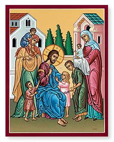 Monastery Icons provides a wonderful selection of icons of Christ that are perfect for your home, like this Christ and Children Icon. Religious Icons, Religious Art, Monastery Icons, Good Shepard, Trinidad, Bless The Child, Little Brothers, Christian Families, Orthodox Icons