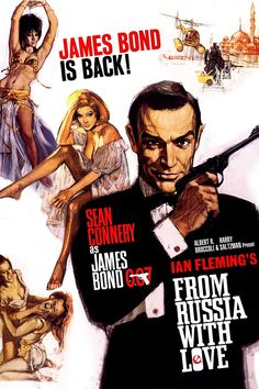 From Russia with Love (1963) James Bond willingly falls into an assassination ploy involving a naive Russian beauty in order to retrieve a Soviet encryption device that was stolen by SPECTRE. #movie
