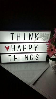 💭Think happy things not bad 🙂❤️. Cinema Light Box Quotes, Light Quotes, Cinema Box, Mini Lightbox, Lightbox Letters, Light Up Message Board, Light Board, Licht Box, Led Light Box