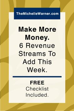 Make More Money: 6 Ideas for New Revenue Streams to Add This Week | As a blogger and online business owner you're always on the outlook for new ways to make money. Just click through to see 6 new revenue streams you can add this week, and download the free launch checklist too!