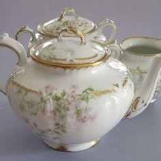 Limoge Pink and Green Porcelain Tea Set