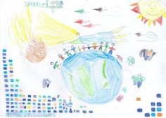 """143151 - """"People Centered Payments around the world"""" - Description: People around the world, holding hands and marks denoting the TSYS idea and concept that what we do is revolved around people. Hand Drawing.  Joint effort of Stavros (6.5 yrs), Pavlos (5 yrs) and Dad.  Category: Drawing"""
