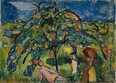 The garden - Edvard Munch - Under the Apple Tree 1919 - Oil on canvas Munch Museum Edvard Munch, Fruit Painting, Garden Painting, Statues, Art Eras, Pierre Auguste Renoir, Edouard Manet, Henri Rousseau, Paul Gauguin