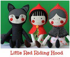 O Capuchinho Vermelho - Conjunto de três bonecos de pano - Brinquedos para crianças. $127,00, via Etsy.