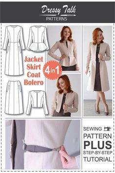 Sewing Patterns - Coat Patterns - Jacket Patterns - Bolero Pattern - Skirt Patterns - Blazer Pattern - Sewing Tutorials - Sewing E-book - Nähen-Muster – Muster Mantel – Jacke Muster – Bolero – Rock Muster – Blazer Muster – T - Coat Patterns, Pdf Sewing Patterns, Sewing Tutorials, Clothing Patterns, Dress Patterns, Sewing Projects, Jacket Sewing Patterns, Sewing Tips, Coat Pattern Sewing