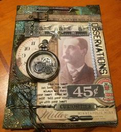 tim holtz - class samples in s africa. Mixed Media Collage, Mixed Media Canvas, Tim Holtz, Altered Books, Altered Art, Heritage Scrapbooking, Artist Trading Cards, Vintage Crafts, Art Journal Pages