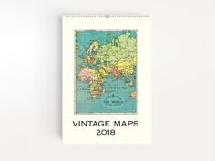 Cavallini vintage wall calendars are back for 2018 with charming vintage artwork. Manage your 2018 schedule with antique maps from around the world.