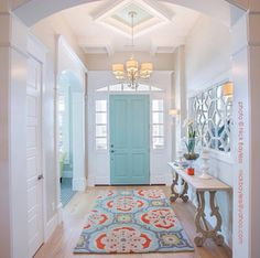 My dream home! House of Turquoise: Highland Custom Homes door color perfection. Just sayin' House Plans, Decor, Home, House Styles, Custom Homes, Sweet Home, New Homes, House, Home Deco