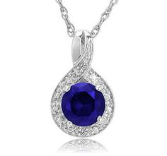 $24.99 - 1 Carat Created Blue Sapphire Pendant with Diamond Accent in Sterling Silver