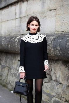 Dress: black and white dress, collared dress, short hair, hairstyles, long sleeve dress - Wheretoget