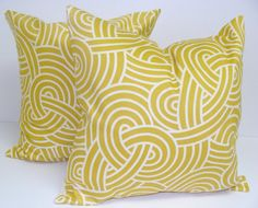 PillowCitrine Mustard YellowSET OF TWO 16x16 by ElemenOPillows, $36.00