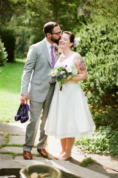 short wedding dress, tattooed bride Wedding Bliss | Big Fashion Show short wedding dress