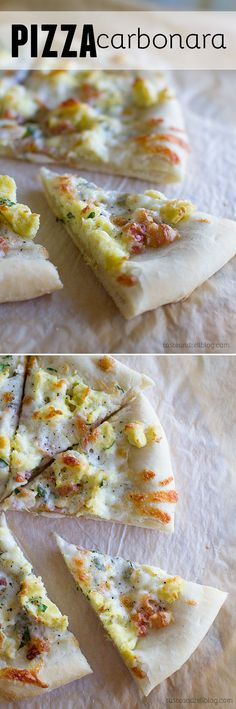 Pizza Carbonara - Topped with eggs and pancetta, this easy Pizza Carbonara is inspired by the Italian carbonara with eggs, cheese and bacon. (Idea: could use Turkey Bacon instead for a healthier option! Pizza Recipes, Brunch Recipes, Breakfast Recipes, Cooking Recipes, Calzone, Stromboli, Breakfast Pizza, Mexican Breakfast, Breakfast Sandwiches
